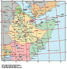 Frontiers Windows EPS map of  Ethiopia, Somalia, Yemen