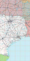 USA State EPS Maps - Texas (East)