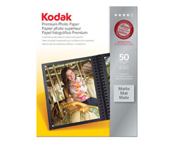 KODAK Premium Photo Paper / 8.5 × 11 in. (216 × 279 mm) / Matte / 50 Sheets