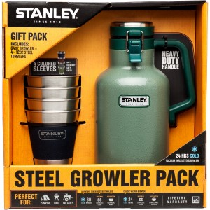 Beer - Growlers, Pints & Steins: Classic Vacuum Growler | 64 oz + Adventure Stacking Steel Tumblers | 12 oz (4 Pack) | Gift Set