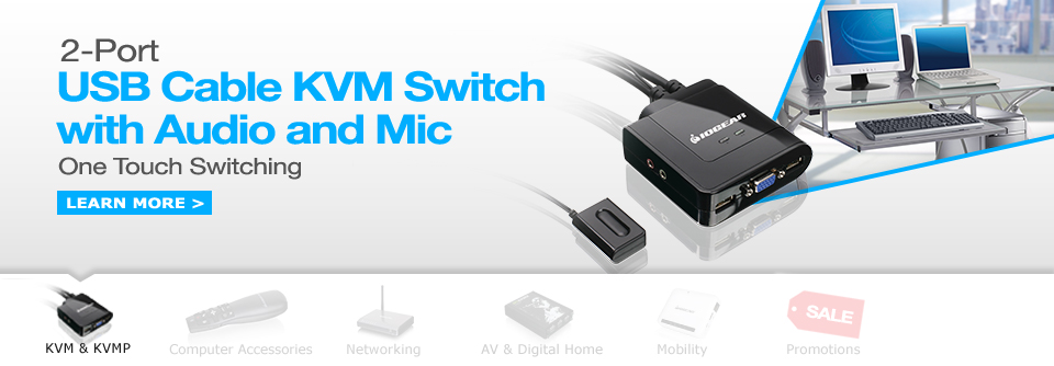 2-Port USB Cable KVM Switch with Audio and Mic