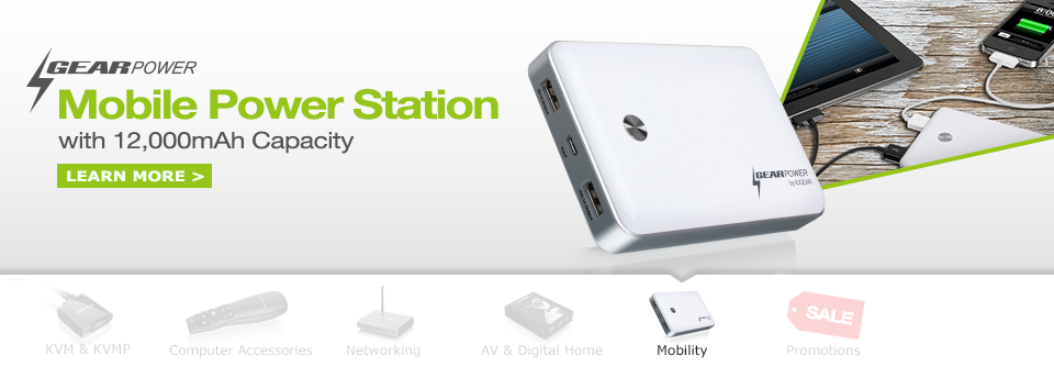 GearPower 12,000mAh Capacity Mobile Power Station