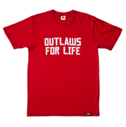 OUTLAWS FOR LIFE Tee (White on Red)