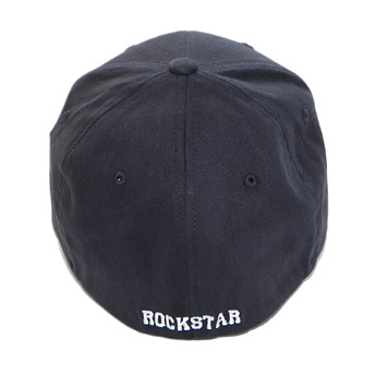 This stretch-fitted cotton cap comes in navy blue with a white logo and has  ROCKSTAR written on the back. Available in S-M (6 3 4