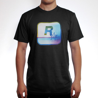 a3b0558f The official Rockstar logo gets a psychedelic hit with this dazzling yet  dusty multi-colored print, on a soft black cotton tee.